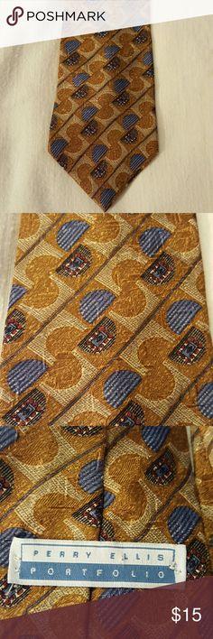 Vintage Perry Ellis Portfolio Tie Gold and blue geometric design, great vintage condition Perry Ellis Accessories Ties