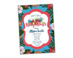Get the island tropical Baby Shower Invitations you've been looking for, for your hibiscus beach baby shower! This girl baby shower invitation