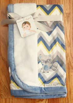 Blankets & Beyond Baby Boy Blanket ~ Chevron Print ~ Raccoon Applique ~ #Blankets&Beyond