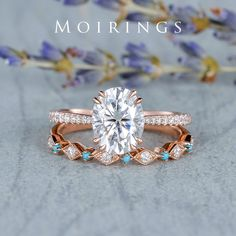 Moissanite Engagement Ring Set Rose Gold Unqiue Dainty Diamond Turquoise Wedding Band 7x9mm Moissanite Anniversary Bridal Ring Set 2pcs Rose Gold Engagement Ring, Engagement Ring Settings, Vintage Engagement Rings, Turquoise Wedding Band, Custom Earrings, Blue Rings, Bridal Rings, Moissanite, Diamond