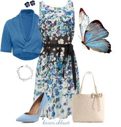 """""""butterfly blues"""" by karenskloset ❤ liked on Polyvore/ Love the dress, purse,shoes"""