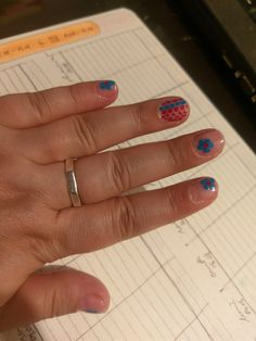 FLOWERS AND DOTS: Melkior ... FRENCH PINK ROSE (21713); Rimmel ... GIMME SOME OF THAT (335); Rimmel ... PORT-A-LOO-BLUE (880) #relaxitaxi #melkior #rimmel #nailart Rimmel, Nailart, Dots, Treats, French, Flowers, Pink, Blue, Stitches