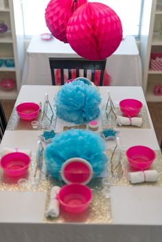 Spa Birthday Party table!  See more party ideas at CatchMyParty.com!