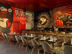 """""""The coolest place I've ever been,"""" veteran restaurant critic John Mariani commented while stopping by the Wynwood Kitchen & Bar . Graffiti Restaurant, Café Restaurant, Bar Interior, Restaurant Interior Design, Design Interior, Lounge Decor, Bar Deco, Asian Restaurants, Café Bar"""