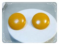 Butterscotch Bakelite Earrings  Vintage Button by bodaciousjewels, $30.00