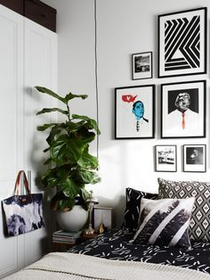 Bedroom with small gallery wall