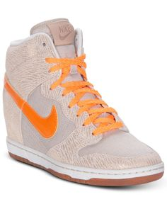 Nike Women's Shoes, Dunk Sky High Vintage Sneakers - Finish Line Athletic Shoes - Shoes - Macy's Sneakers Box, Sneakers Nike, Nike Wedges, Vintage Sneakers, Nike Dunks, Kinds Of Shoes, Baskets, Sky High, Sport Wear
