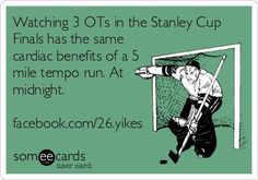 """Watching three OTs in the Stanley Cup Finals has the same benefits of a 5-mile tempo run... at midnight."" #hockey #meme"