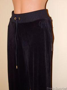 NWT Juicy Couture Women's L Black Velour Pants Drawstring Waist $54 #JuicyCouture #LoungePantsSweatpants