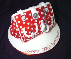 Red and White Polka Dot Handbag. This is a cake!