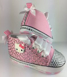 Customised Baby Pink Hello Kitty Crib Shoes by HuggyWuggys on Etsy