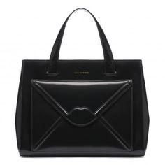 Black Polished Leather Envelope Medium Louise
