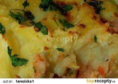Zapečené rybí filety pod bramborovou peřinou recept - TopRecepty.cz Mashed Potatoes, Cauliflower, Meat, Chicken, Vegetables, Ethnic Recipes, Food, Whipped Potatoes, Smash Potatoes