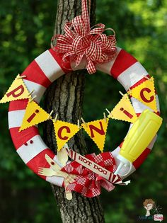 Picnic Wreath by AttaGirlSays.com - Outdoor Picnic Wreath for Backyard Barbecues and Cookouts. ~ This would be a hit at the next family reunion! ~ SJZ