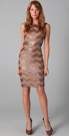 Alice + Olivia Chevron Sequin Dress. Scoop neck and exposed zipper in back. Very elegant and sexy.