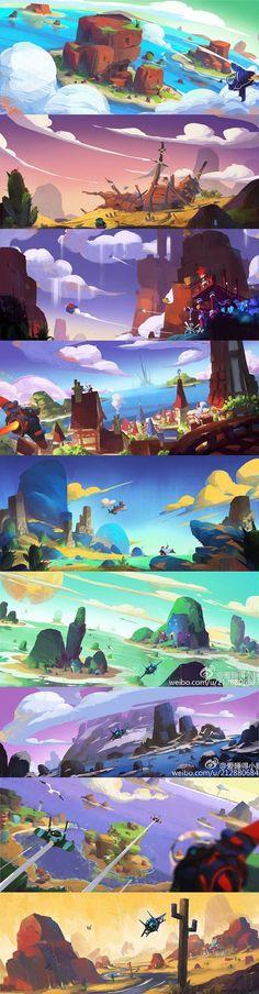2015 The second group color training, hope panda nine palaces . Concept Art Landscape, Fantasy Landscape, Landscape Art, Cartoon Background, Animation Background, Art Background, Bg Design, Game Design, Game Concept Art