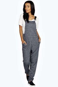 Laura Slub Knitted Dungaree Jumpsuit at boohoo.com