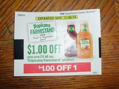 TROPICANA Farmstand Product $1.00 on ONE (1) -11/30/2014 ~ (10)