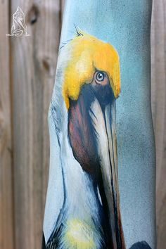 Louisiana Cypress Knee Hand Painted Brown Pelican by SkintKnees on Etsy Acrylic Painting Techniques, Painting On Wood, Palm Frond Art, Palm Fronds, Cypress Knees, Driftwood Art, Bird Art, Louisiana, Art Projects