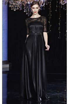 Black Half Sleeves Lace Floor Length Satin Formal Dress B132