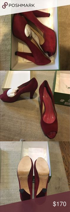 "Kate Spade ""Georgia"" Heel Red suede with a satin heel peep-toe platform heels. Previously worn but the soles have been replaced by a shoe maker and are brand new! Very comfortable! Open to reasonable offers through feature! No trades! kate spade Shoes Heels"