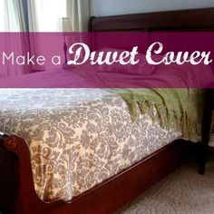 "{DIY Duvet Cover!} seem 54"" fabric in the middle; sew king size sheet on bottom"