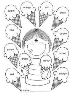Kid Activities English Lessons Los Colores En Ingles Mas is part of English classroom - Preschool Learning Activities, Color Activities, Preschool Worksheets, Teaching Kids, Kids Learning, English Worksheets For Kids, English Lessons For Kids, Kids English, English Activities For Kids