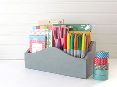 French Provencal Curvy Desk Organizer - Grey Chalk Painted Organizer - Rustic cottage Decor - Home Office Organization    • Solid re-purposed wood