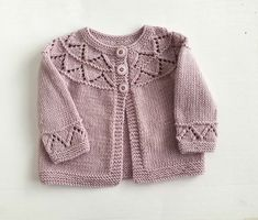 Merino wool hand knit girl's sweater, baby 2 - 5 months, dusky lilac pink knitted pure wool girl's cardigan with pretty lacy yoke, baby gift Baby Girl Sweaters, 5 Months, Sweater Design, Merino Wool, Hand Knitting, Baby Gifts, Lilac, Pink, Ready To Wear
