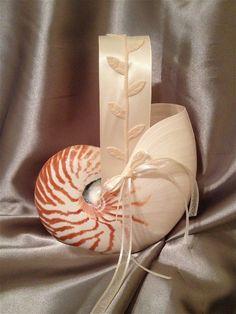 Beach Wedding Nautilus Shell Flower Girl Basket w/ Leafy Ivory Handle (or CUSTOM) by JsWorldOfWonder