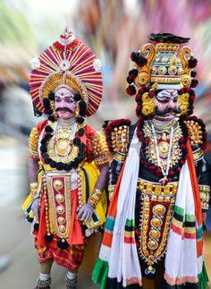 danse folklorique: Danse traditionnelle de Karnataka appelé Yakshagana sud de l'Inde