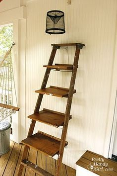 DIY - Tutorial - Ladder Shelves.  Sand it, score it w/an old fork, sand some more, and stain.
