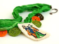 OOAK Green Silk Choker Necklace Crocheted Jewelry by PinaraDesign, $62.00