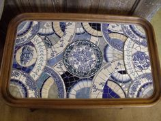vintage china and stained glass mosaic table by WarmBeachMosaics