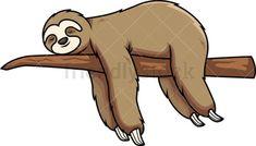 Sloth Sleeping On Tree Branch Cartoon Vector Clipart - FriendlyStock Sloth Sleeping, Sleeping Animals, Cartoon Drawings, Easy Drawings, Cartoon Images, Sloth Cartoon, Sloth Drawing, Sleeping Drawing, Branch Vector