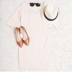 A simple dress flats and s hat