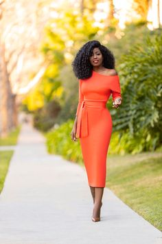 Orange Off Shoulder Pencil Dress (Style Pantry) Elegant Outfit, Classy Dress, Classy Outfits, Dinner Gowns, Dinner Outfits, Pencil Dress Outfit, Pencil Dresses, Jumper Dress, Orange Dress Outfits