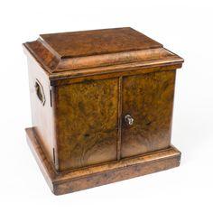 A stylish antique Victorian burr walnut table top cigar box, circa 1870.