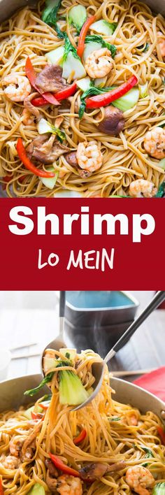 Shrimp Lo Mein is a dish that combines ease and flavor! Saucy noodles, vegetables, and shrimp make take out a thing of the past! via @Lemonsforlulu