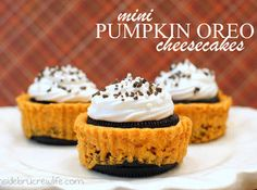 Mini Pumpkin Oreo Cheesecakes (Weight Watchers).... 4 points per mini cheesecake... makes a total of 24 cheesecakes