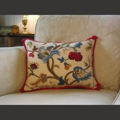 Oh how I adore a Jacobean crewel pillow.