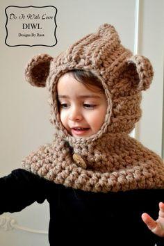 Häkelanleitung für eine niedliche Teddy-Mütze / crochet instruction for a teddy hoddie, diy by DIWL-DO-IT-WITH-LOVE via DaWanda.com