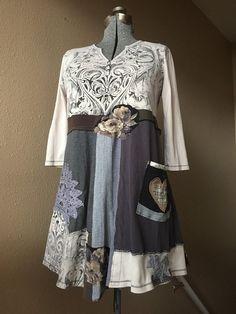 Upcycled Shabby Chic Dress Boho gypsy Artsy clothing