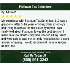 My experience with Platinum Tax Defenders, LLC was a great one. After 3-1/2 years of...