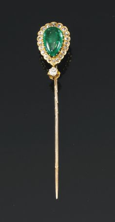 Emerald and diamond stick pin, late century set with a pear-shaped emerald within scalloped surrounds of circular-cut diamonds, case stamped by J. Antique Jewelry, Vintage Jewelry, Art Nouveau, Tie Pin, Stick Pins, Royal Jewels, Hat Pins, Diamond Cuts, Opal