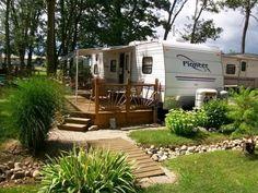 deck ideas camper ground level