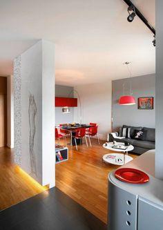 deski, ścianka i podświetlenie