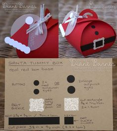 Christmas Santa tummy box, hat tag & instructions using Stampin Up Curvy keepsake box die & punches. By Di Barnes #colourmehappy