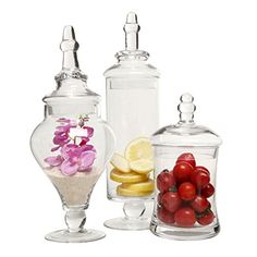 Designer Clear Glass Apothecary Jars 3 Piece Set Decorative Weddings Candy Buffet MyGift * You can get additional details at the image link. Glass Storage Jars, Jar Storage, Glass Containers, Large Glass Jars, Clear Glass, Vase Deco, Pots, Glass Apothecary Jars, Apothecary Decor