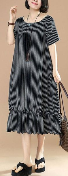 top quality cotton blended maxi dress plus size Black And White Stripes Round Neck Short Sleeve Pocket Loose Women Dress top-quality-cotton-blended-Black-And-White-Stripes-Round-Neck-Short-Sleeve-Pocket-Loose-Women-Dress Plus Size Maxi Dresses, Trendy Dresses, Simple Dresses, Casual Dresses, Fashion Dresses, Dresses With Sleeves, Woman Dresses, Linen Dresses, Ball Dresses